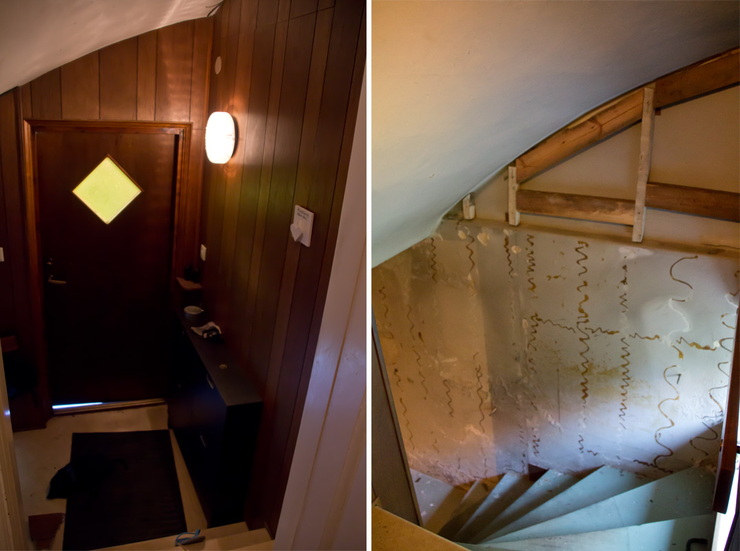 t.v. panelen som finns i hela källarutrymmet. t.h. hur det såg ut när panelen åkte ner.